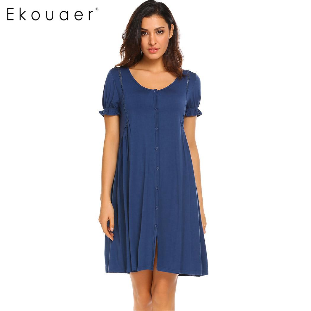 Ekouaer Women Nightgowns Nightdress Short Sleeve Button Front Female Night Gown Sleep Shirt Dress Sleepwear Plus Size S-XXL