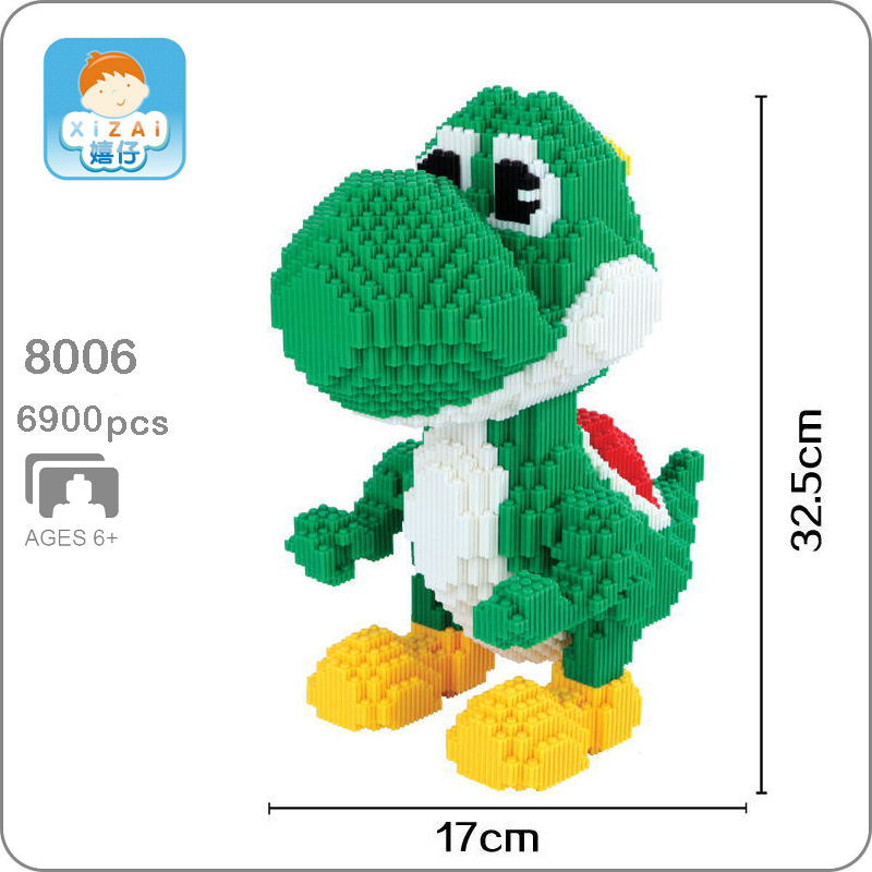 Xizai 8006 Video Game Super Mario Yoshi Big Monster 3D Model DIY Micro Mini Building Blocks Bricks Assembly Toy 33cm tall no BoxXizai 8006 Video Game Super Mario Yoshi Big Monster 3D Model DIY Micro Mini Building Blocks Bricks Assembly Toy 33cm tall no Box