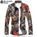 Mens Floral Havaiano Camisas Plus Size M-7XL 201 Moda Outono Manga Longa Homens Camisa Vermelha DT256
