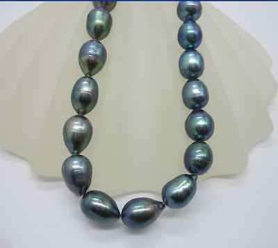 "HUGE 18"" 9-10MM NATURAL TAHITIAN BLACK PEARL NECKLACE 14k"