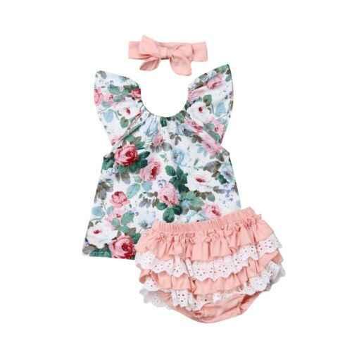 3 adet bebek çiçek baskılı sinek kollu üst dantel Patchwork fırfır PP şort kafa bandı kıyafet yürüyor çocuk kız giyim 2019 yaz