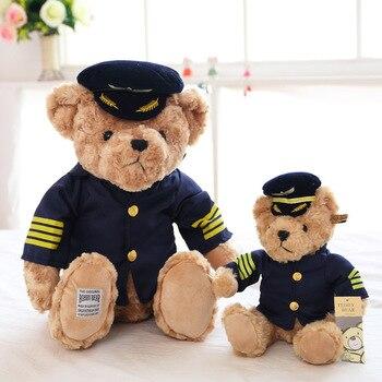 Высокое качество, 1 шт., 25 см/35 см, новинка, милый пилот, плюшевый мишка, плюшевая игрушка, капитан, медведь, кукла, мягкая кукла, подарок на день...