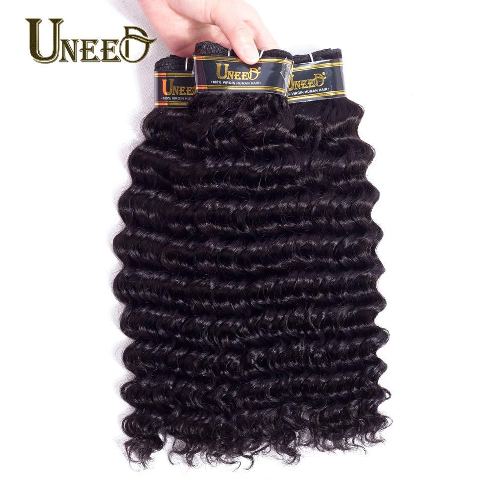 Uneed 3 Bundles Peruvian Deep Curly Hair Remy Hair Extensions Peruvian Deep Wave Human Hair Weave Bundles Natural Color 10-28