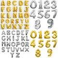 Envío gratis Venta caliente fiesta decoración número alfabeto letra lámina globos 16 pulgadas globo de aluminio lindo plata/oro globos