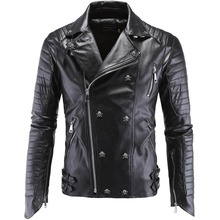 Высокое качество Для мужчин череп в стиле панк Кожаные куртки новый мужской хип-хоп косой молнией замшевые ootwear Пальто для будущих мам кожа jaqueta