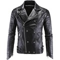 High Quality Men's Skull Punk Style Leather Jackets New Male Hip-Hop Oblique Zipper Leather Suede Ootwear Coats Leather jaqueta