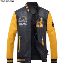 TORBIDONI 2017 New Men Patchwork Leather Jackets Embroidery Logo Brand Clothing High Quality Fashion Motorcycle Male Overcoat