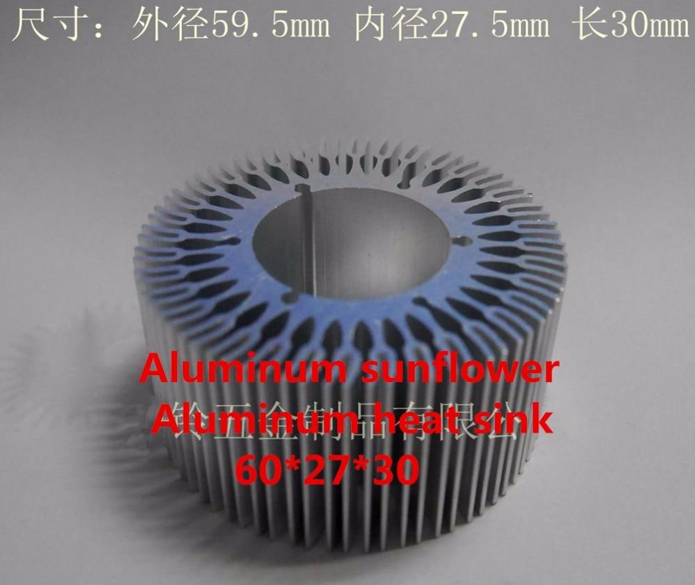 Fast Free Ship 2pcs/lot Aluminum Sunflower Aluminum Heat sink 60*27*30mm Dense Tooth Radiator Round Radiator Aluminum Fittings