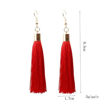 Donarsei Bohemian Long Fringe Tassel Earrings For Women Simple Black Rope Hook Drop Dangle Earrings Jewelry Gift 1