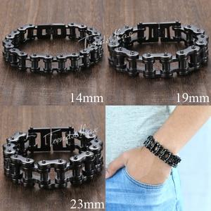Image 5 - Trendsmax Bracelet For Men 316L Stainless Steel Black Biker Bicycle Link Bracelet Hiphop Men Jewelry 14/19/23mm HBM10