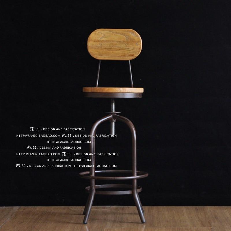 Vintage iron bar chairs lift bar stool bar stool bar chair wood elm rotating coffee Chair High Chair