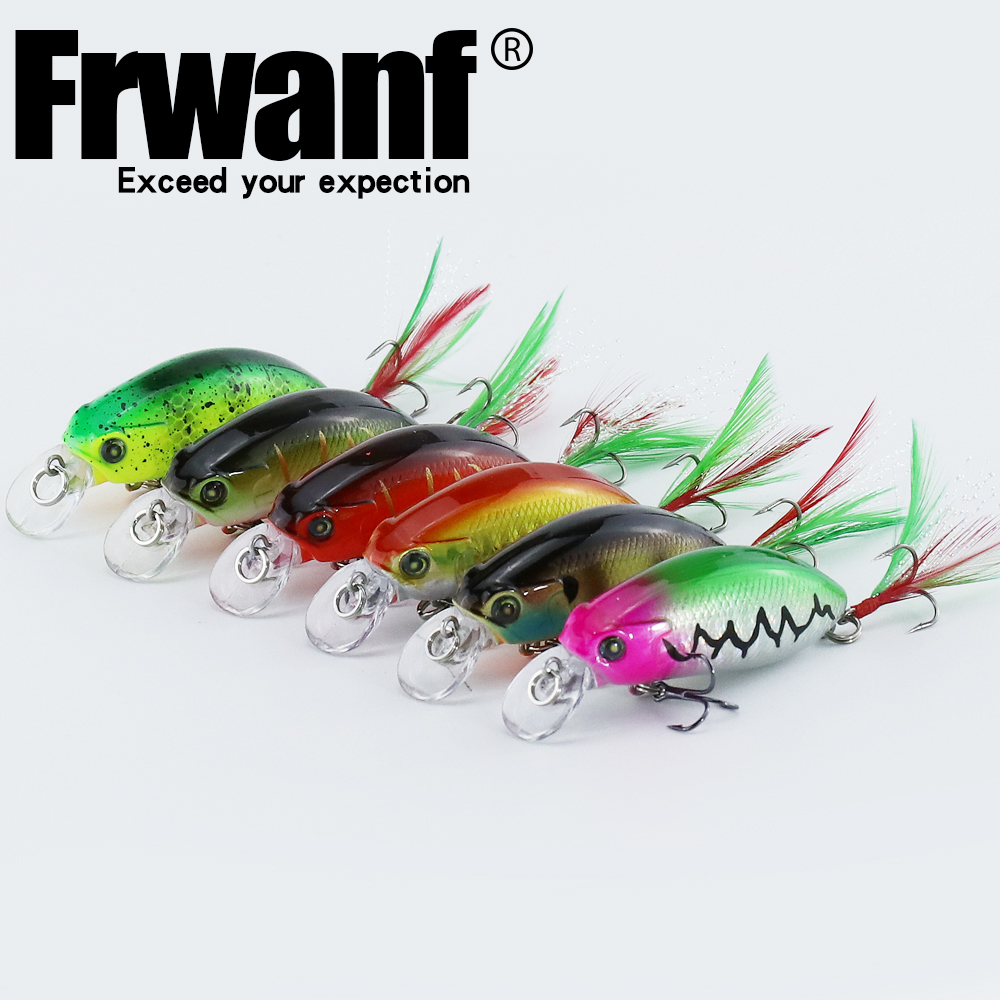 Frwanf 6 PCS lot Deep Diving Minnow Hard Lure 5 9CM 9G Jigging Fishing Lure Hard baits Artificial Bait Treble Hook Wobblers in Fishing Lures from Sports Entertainment