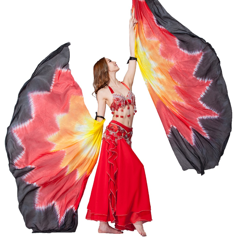 Performance Props 1 Pair Half Moon Dance Veil Silk Rainbow Wings Belly Dance 100% Silk Half Circle Wings Include Bag And Sticks