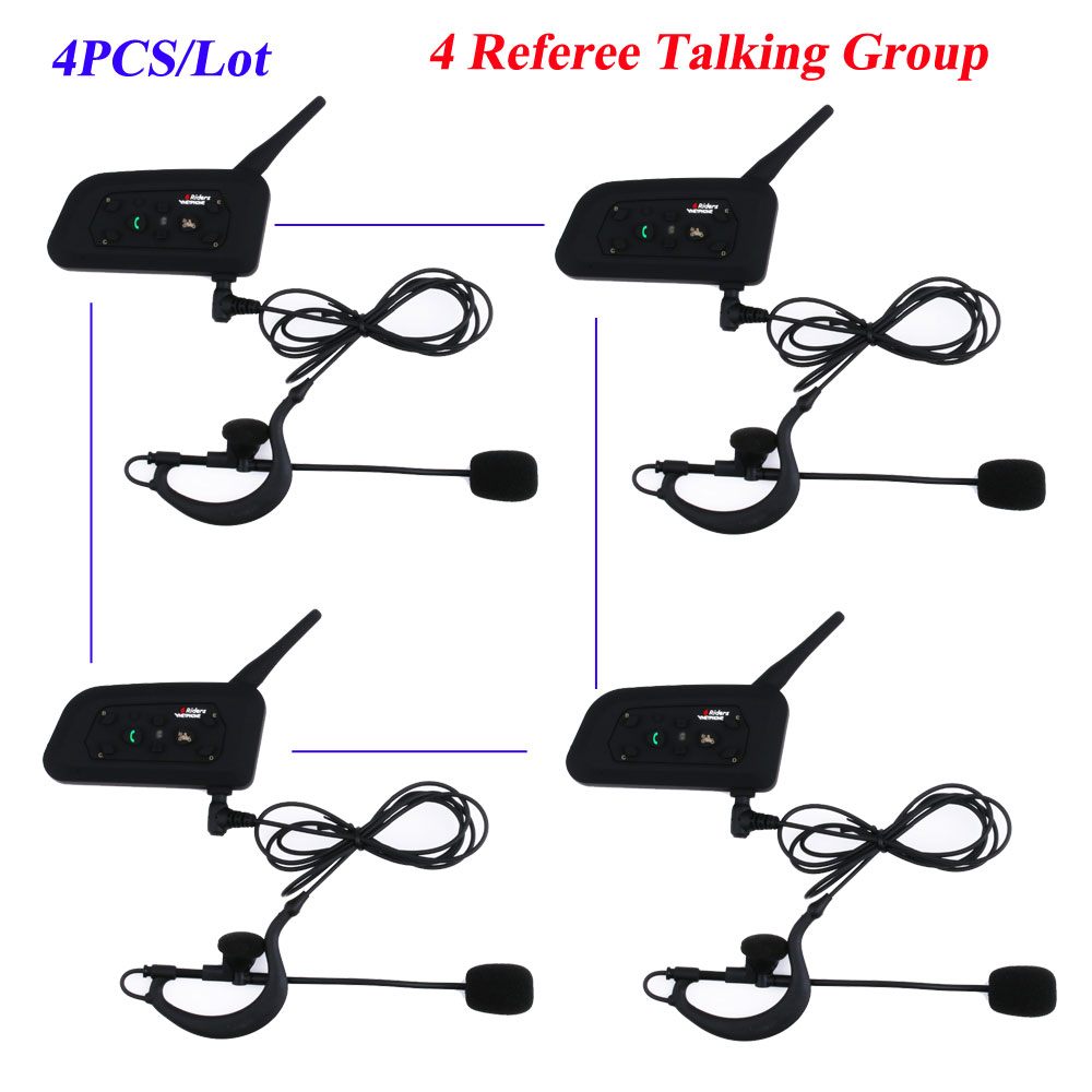 4Pcs/Lot Vnetphone Bluetooth Intercom Full Duplex Football Coach Judger Earhook Earphone Referee Walkie Talkie Intercom Headsets