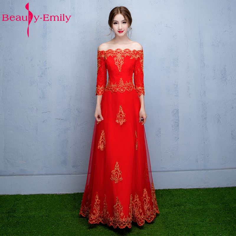 Beauty Emily Red Appliques Long Evening Dresses 2018 Boat Neck Half Sleeve Lace Up Formal Party Prom Dresses Evening Gowns
