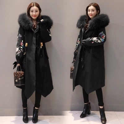 Winter Jacket Women Natural Fur Collar   Parkas   Embroidery Hooded Padded Coat New Warm Fit Overcoat Abrigos Mujer Invierno YP1636