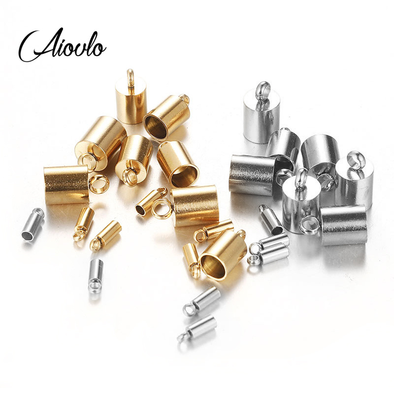 10pcs Stainless Steel Silver Gold Clasps Hooks Cords End Caps Cord For Jewelry Making Bracelet Necklace DIY Jewelry Findings