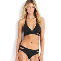 Two Piece Swimsuit Women Summer Sexy Cross Bandage Solid Bikini Set Black Beachwear Backless Bathing Suit