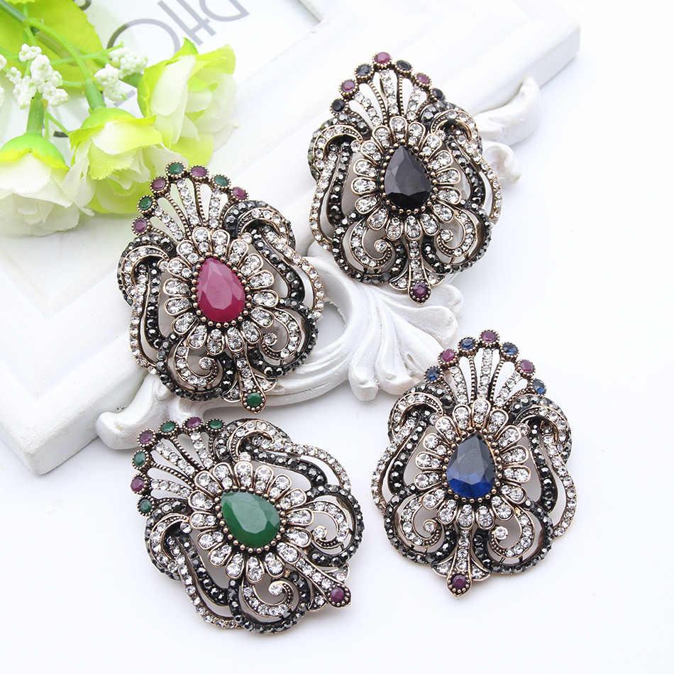 Fashion Wanita Perhiasan Turki Bros Biru Kristal Berlian Imitasi Merak Bros Bros Wanita Syal Jilbab Pin Terbaik Kerajaan Hadiah