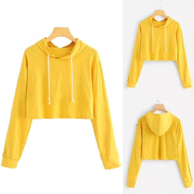 a67ce601 Women Long Sleeve Pullover Fashion Solid Yellow Sweatshirt Simple Hooded  Hoodie Drawstring Girls Spring Pullovers