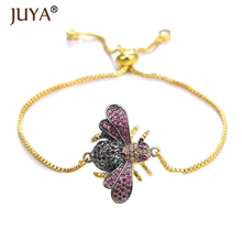 Juya 2019 New Cute Cubic Zirconia Bee Charm Bracelets for Women Gold Chain Insect Bracelet Adjustable Femme Jewelry Pulseras