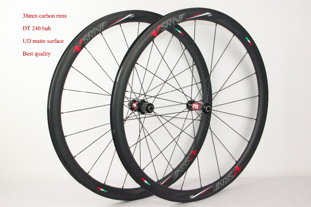 Highend carbon wheel 38mm wheels with basalt brake surface, 100% hand wheel with carbon hub DT240