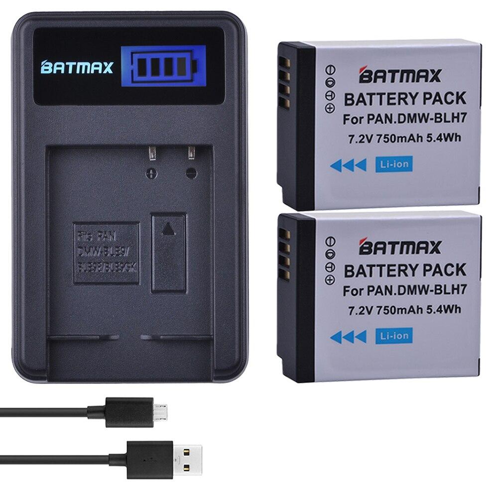 2Pcs 750mAh DMW BLH7 DMW-BLH7 Battery + LCD USB Charger For Panasonic Lumix DMC-GM1 GM1 DMC-GM5 GM5 DMC-GF7 GF7 DMC-GF8 GF8