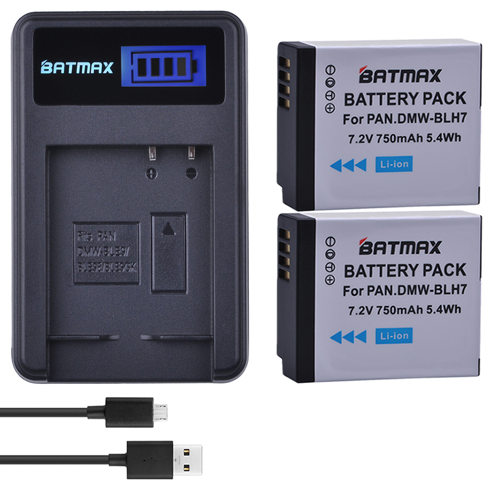 2Pcs 750mAh DMW BLH7 DMW-BLH7 Battery + LCD USB Charger for Panasonic Lumix DMC-GM1 GM1 DMC-GM5 GM5 DMC-GF7 GF7 DMC-GF8 GF8
