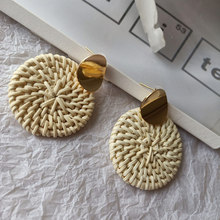 Hello Miss 2019 new metal round retro earrings geometric bamboo and rattan woven ladies