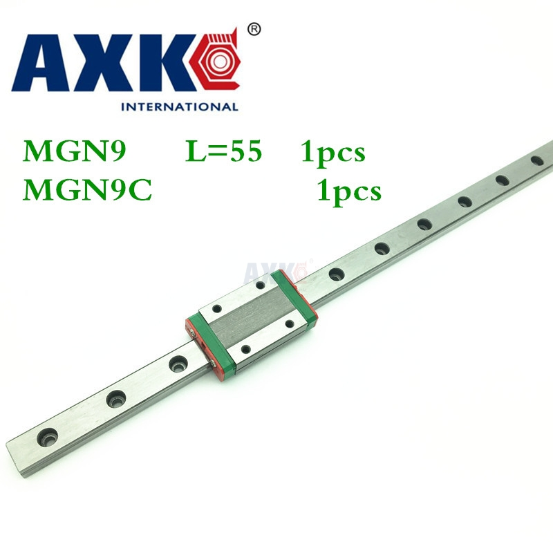 2018 Real New Axk Linear Rail Cnc Router Parts 1pc 9mm Width Linear Guide Rail 55mm Mgn9 + Mgn Mgn9c Blocks Carriage For Cnc 3d print parts cnc mgn7c mgn12c mgn15c mgn9c mini linear rail guide 1pc mgn linear rail guide 1pc mgn slider