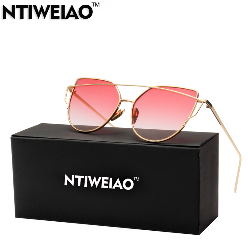 NTIWEIAO Fashion Cat Eye Sunglasses Women Brand Alloy Frame UV400 HD Sun Glasses Unique Flat Ladies Sunglasses Oculos