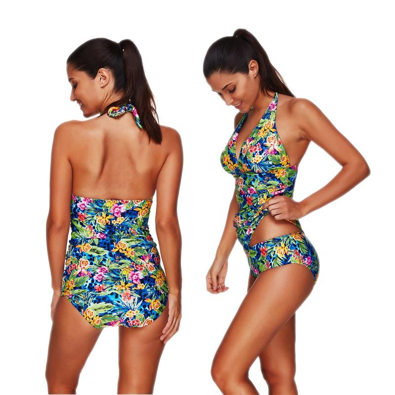 Neck Large Size Swimwear Women 39 s 2019 Maios Beach Double Push Up Bikini Leaf Print Bikini Tie Die Indoor Swimsuit Seafolly S M L in Bikinis Set from Sports amp Entertainment