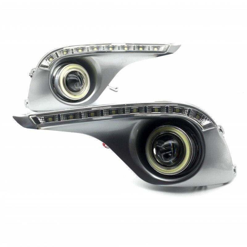 For Toyota Highlander 2012 2013 COB Angel Eyes LED DRL Daytime Running Lights Halogen Xenon Fog