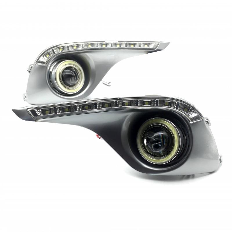 цена на For Toyota Highlander 2012 2013 COB Angel Eyes / LED DRL Daytime Running Lights / Halogen / Xenon Fog Lights / Lens Fog LAMP