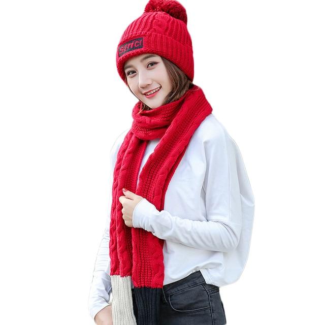 572ba655f98 Hengzheapparel Warm Pompom Knitted Hat Scarf Winter Set Women Thick Velvet  Cap Long Scarf Female Accessories Girls Gift