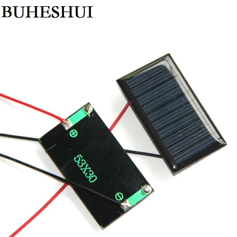 BUHESHUI 5V 30MA Mini Solar Cell+Cable Polycrystalline DIY Solar Panel Charger 53*30*3MM Study Kits 30pcs/lot Free Shipping
