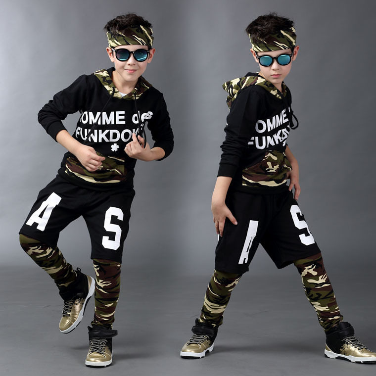 ФОТО 2017 Spring Autumn children's clothing set Costumes kids sport suits ARMY Camouflage patchwork Hip Hop dance pants & hoodies