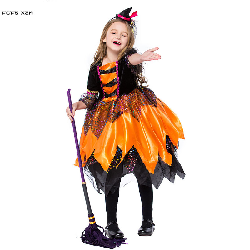 S-XL девушки Хэллоуин колдунья костюм для детей маг ведьма Косплэй карнавал Пурим этап Показать Маскарад праздничное платье