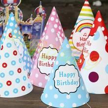 10 шт., детская Радужная шляпа для дня рождения, chlid, украшение в виде короны, бумажная Кепка с рисунком, яркая Праздничная шапка на день рождения