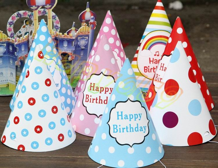 10pcs Baby Kid Rainbow Birthday Party Hat Chlid Crown Decoration Paper Cap Cartoon Pattern Festival Colorful Birthday Hat