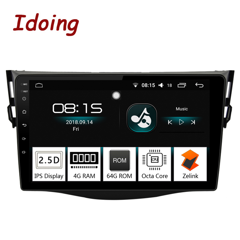 Idoing 94G+64G 8 Core Car Android8.0 Radio Multimedia Player Fit Toyota RAV4 2007-2011 2.5D IPS Screen GPS Navigation Glonass