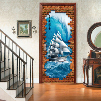 Wall Sticker Decals | Brick Wall Sailboat Sea 3D PVC Stickers Door Sticker Decal DIY Mural Vinyl Sticker Peel And Stick Mural Art Home