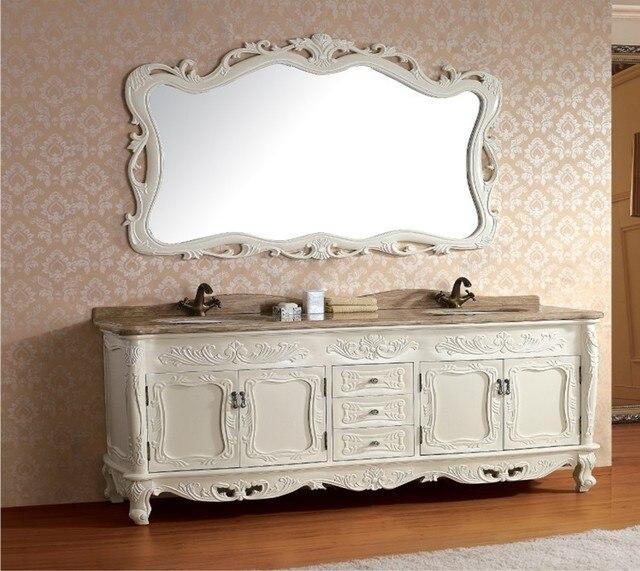 2017 in legno Massello antico mobiletto del bagno con specchio e ...