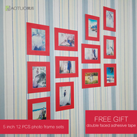 HAOTUO Photo Frame Set 12pcs 6 Hanging Photo Picture Frames Wall Decoration Cardboard Mats HT 1018