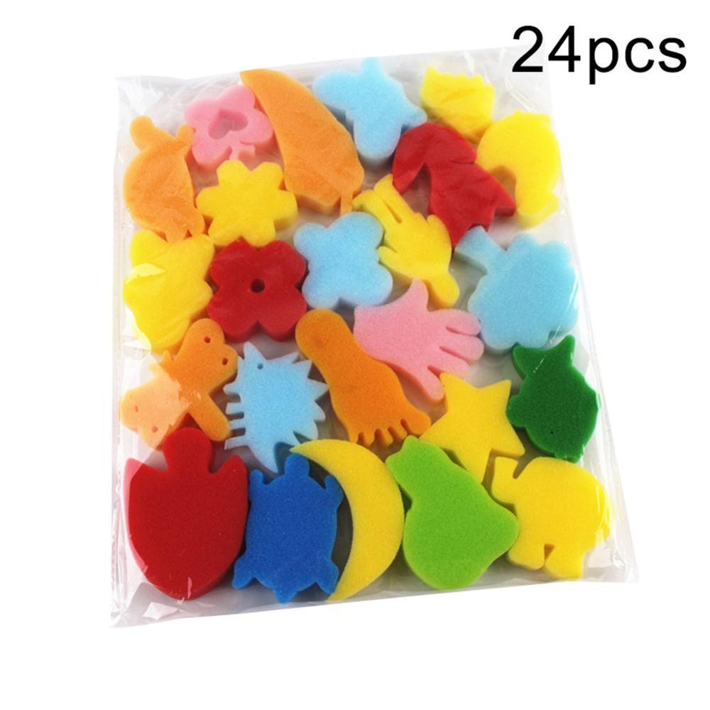 24Pcs Colorful Assorted Sponge Children DIY Painting Art Craft Education Toy