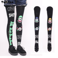 Harajuku Punk Rock Style Eyeball Tights Pantyhose Lolita High Quality 120D Velet Stockings Japanese Cool Halloween