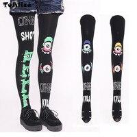Harajuku Punk Rock Style Eyeball Tights Pantyhose Lolita High Quality 120D Velet Stockings Japanese Cool Halloween
