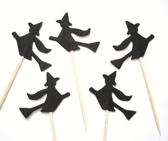halloween black witch party picks cupcake toppers baby shower wedding party food picks toothpicks decor in cake decorating supplies from home garden on