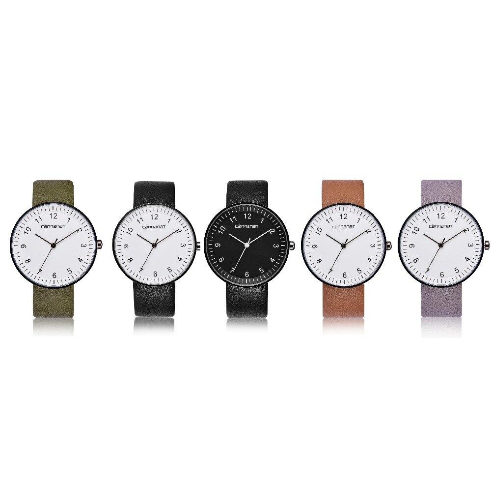 Women Fashion Casual Leather Watch Round Shape Concise Elegant Analog Quartz Business Wristwatch Ladies Watches l 10 women s stylish petals style bracelet quartz analog wristwatch golden white 1 x lr626