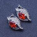 Moda Olho Shapped Red Garnet Sliver Brincos Gota Para Mulheres Frete Grátis & Caixa de Presente Da Jóia Livre